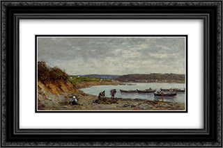 Brest, Fishing Boats 24x16 Black or Gold Ornate Framed and Double Matted Art Print by Eugene Boudin