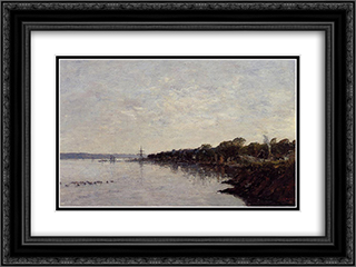 Brest, the Banks of the Harbor 24x18 Black or Gold Ornate Framed and Double Matted Art Print by Eugene Boudin