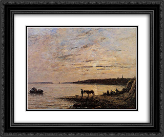 Brest, the Harbor 24x20 Black or Gold Ornate Framed and Double Matted Art Print by Eugene Boudin