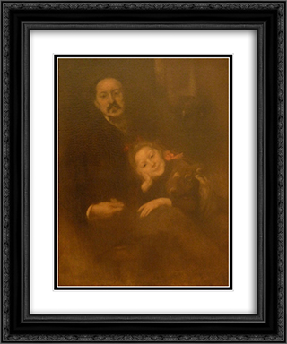 Gabriel Seailles et sa fille 20x24 Black or Gold Ornate Framed and Double Matted Art Print by Eugene Carriere