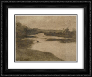 Paysage avec large riviere 24x20 Black or Gold Ornate Framed and Double Matted Art Print by Eugene Carriere