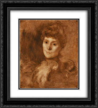 Portrait of a Woman (possibly Madame Keyser) 20x22 Black or Gold Ornate Framed and Double Matted Art Print by Eugene Carriere
