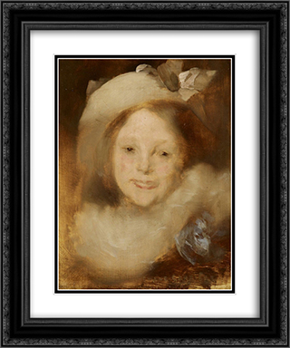 Portrait of Lise Carriere 20x24 Black or Gold Ornate Framed and Double Matted Art Print by Eugene Carriere