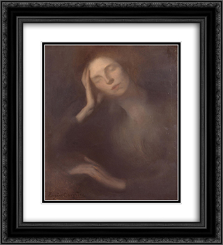 Woman Leaning on a Table 20x22 Black or Gold Ornate Framed and Double Matted Art Print by Eugene Carriere