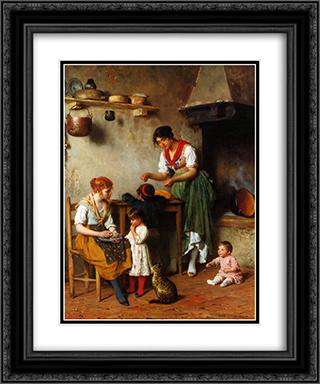 A Helping Hand 20x24 Black or Gold Ornate Framed and Double Matted Art Print by Eugene de Blaas