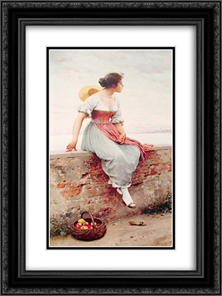 A Pensive Moment 18x24 Black or Gold Ornate Framed and Double Matted Art Print by Eugene de Blaas