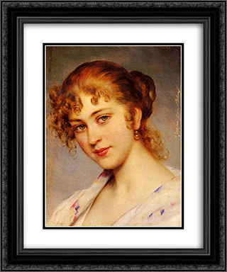 A Portrait Of A Young Lady 20x24 Black or Gold Ornate Framed and Double Matted Art Print by Eugene de Blaas
