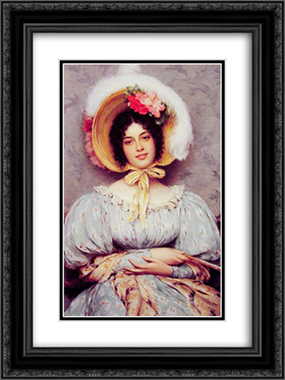 A Viennese Beauty 18x24 Black or Gold Ornate Framed and Double Matted Art Print by Eugene de Blaas
