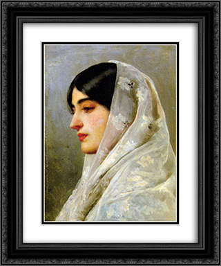 A Young Beauty 20x24 Black or Gold Ornate Framed and Double Matted Art Print by Eugene de Blaas