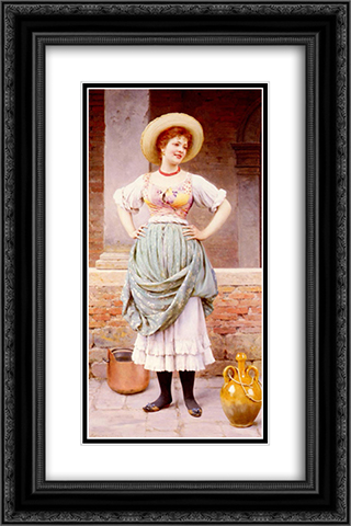 An Affectionate Glance 16x24 Black or Gold Ornate Framed and Double Matted Art Print by Eugene de Blaas