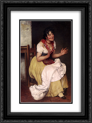 An Interesting Story 18x24 Black or Gold Ornate Framed and Double Matted Art Print by Eugene de Blaas