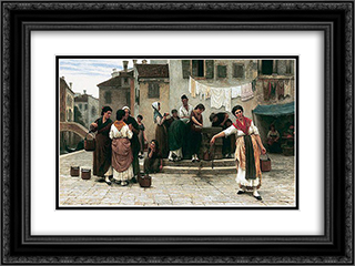 At the Well 24x18 Black or Gold Ornate Framed and Double Matted Art Print by Eugene de Blaas