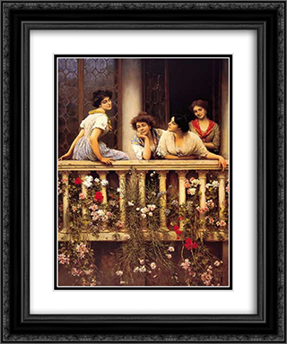 Balcony 20x24 Black or Gold Ornate Framed and Double Matted Art Print by Eugene de Blaas