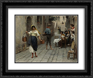 Catch of the Day 24x20 Black or Gold Ornate Framed and Double Matted Art Print by Eugene de Blaas