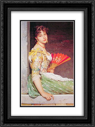 Daydreaming 18x24 Black or Gold Ornate Framed and Double Matted Art Print by Eugene de Blaas