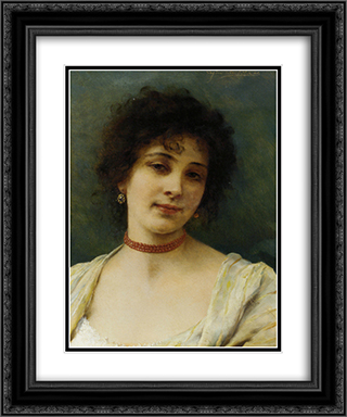Elegant Lady 20x24 Black or Gold Ornate Framed and Double Matted Art Print by Eugene de Blaas