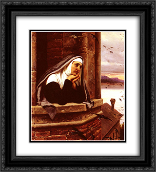 Far Away Thoughts 20x22 Black or Gold Ornate Framed and Double Matted Art Print by Eugene de Blaas