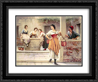 Flirtation at the Well 24x20 Black or Gold Ornate Framed and Double Matted Art Print by Eugene de Blaas