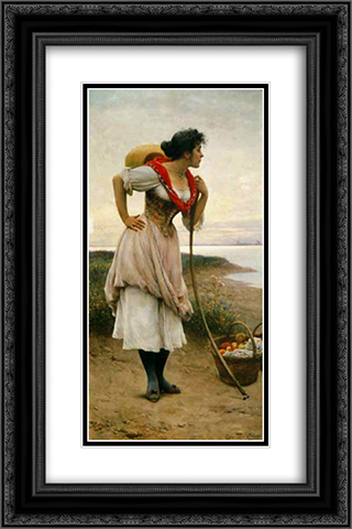 Fruit Vendor 16x24 Black or Gold Ornate Framed and Double Matted Art Print by Eugene de Blaas