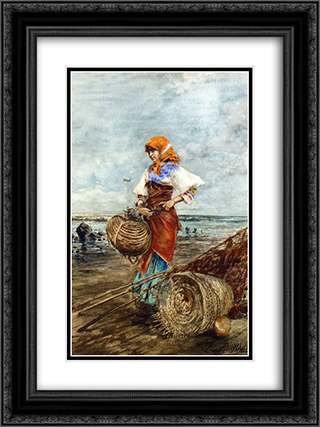 Gathering Cockles at the Seashore 18x24 Black or Gold Ornate Framed and Double Matted Art Print by Eugene de Blaas