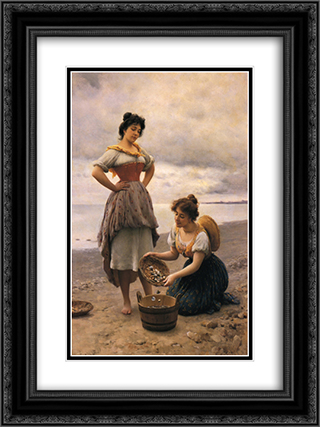 Gethering Shells 18x24 Black or Gold Ornate Framed and Double Matted Art Print by Eugene de Blaas