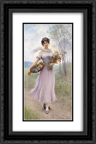 Girl in a Lilac-Coloured Dress with Bouquet of Flowers 16x24 Black or Gold Ornate Framed and Double Matted Art Print by Eugene de Blaas