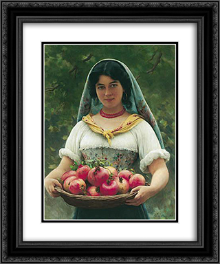Girl with Pomegranates 20x24 Black or Gold Ornate Framed and Double Matted Art Print by Eugene de Blaas