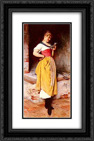 Good News 16x24 Black or Gold Ornate Framed and Double Matted Art Print by Eugene de Blaas