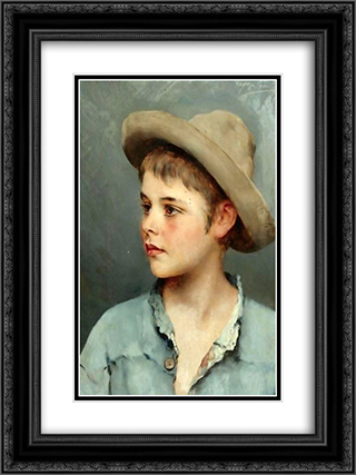 His New Hat 18x24 Black or Gold Ornate Framed and Double Matted Art Print by Eugene de Blaas