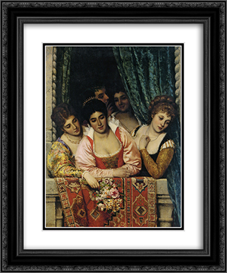 Ladies on a Balcony 20x24 Black or Gold Ornate Framed and Double Matted Art Print by Eugene de Blaas