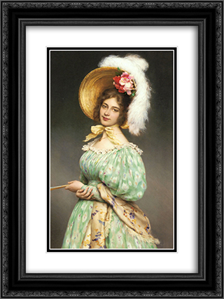 Musette 18x24 Black or Gold Ornate Framed and Double Matted Art Print by Eugene de Blaas