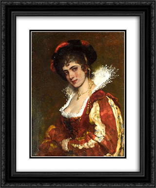 Portrait of a Venetian Lady 20x24 Black or Gold Ornate Framed and Double Matted Art Print by Eugene de Blaas