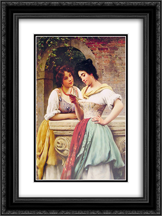 Shared Correspondance 18x24 Black or Gold Ornate Framed and Double Matted Art Print by Eugene de Blaas