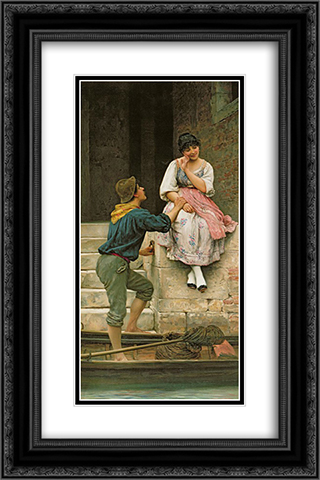 The Fishermans Wooing from the Pears Annual Christmas 16x24 Black or Gold Ornate Framed and Double Matted Art Print by Eugene de Blaas