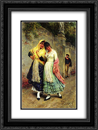 The Flirtation 18x24 Black or Gold Ornate Framed and Double Matted Art Print by Eugene de Blaas