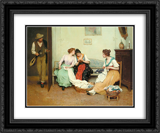 The Friendly Gossips 24x20 Black or Gold Ornate Framed and Double Matted Art Print by Eugene de Blaas