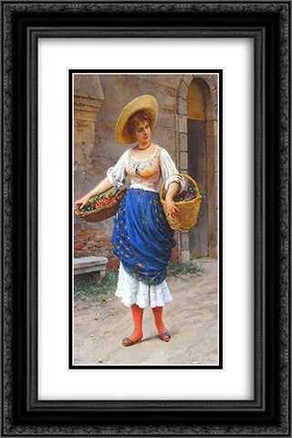 The Fruit Seller 16x24 Black or Gold Ornate Framed and Double Matted Art Print by Eugene de Blaas