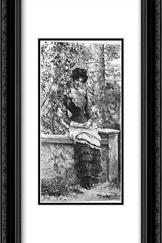 The Gazebo 16x24 Black or Gold Ornate Framed and Double Matted Art Print by Eugene de Blaas