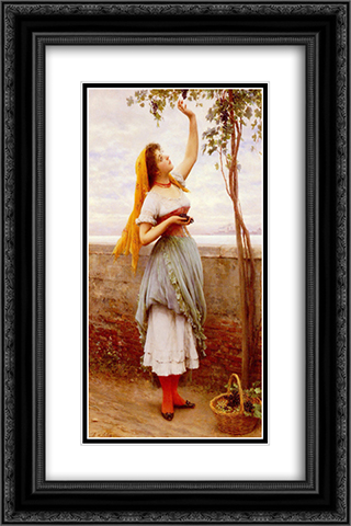 The Grape Picker 16x24 Black or Gold Ornate Framed and Double Matted Art Print by Eugene de Blaas