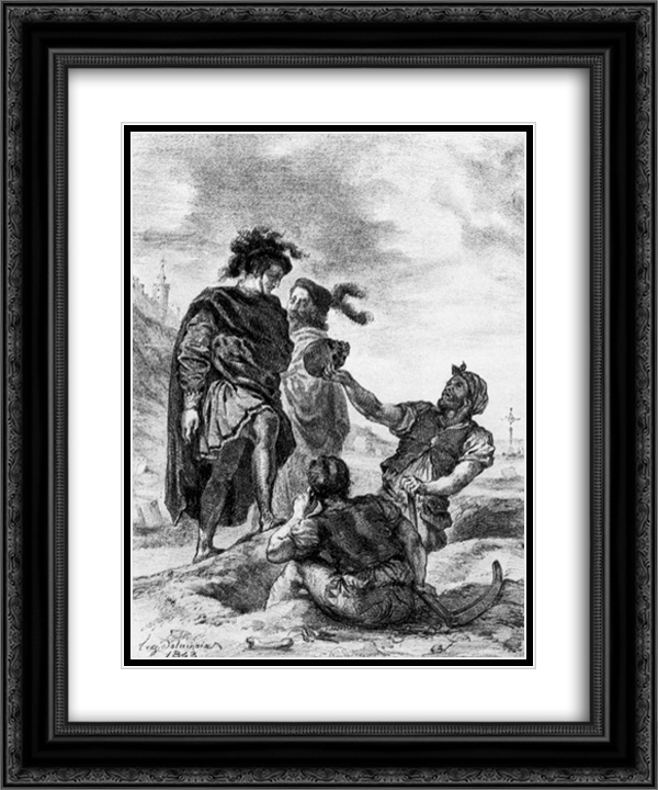Hamlet and Horatio before the Grave Diggers 20x24 Black or Gold Ornate Framed and Double Matted Art Print by Eugene Delacroix