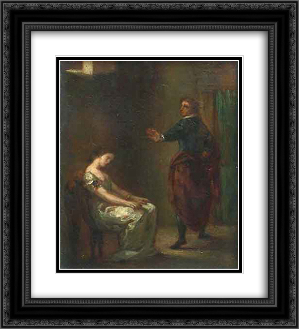 Hamlet and Ophelia 20x22 Black or Gold Ornate Framed and Double Matted Art Print by Eugene Delacroix