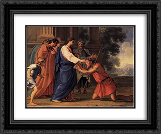 Christ Healing the Blind Man 24x20 Black or Gold Ornate Framed and Double Matted Art Print by Eustache Le Sueur