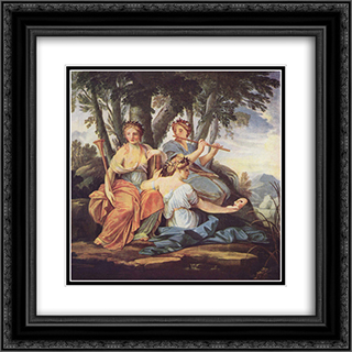 Clio, Euterpe and Thalia 20x20 Black or Gold Ornate Framed and Double Matted Art Print by Eustache Le Sueur