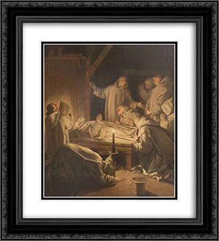 Death of St. Bruno 20x22 Black or Gold Ornate Framed and Double Matted Art Print by Eustache Le Sueur
