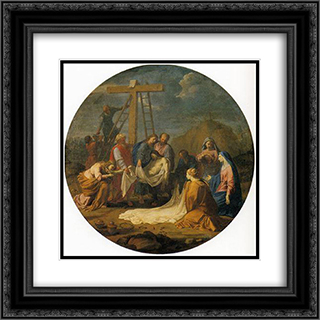 Deposition from the Cross 20x20 Black or Gold Ornate Framed and Double Matted Art Print by Eustache Le Sueur