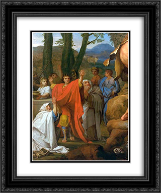 Hercules fighting Cacus 20x24 Black or Gold Ornate Framed and Double Matted Art Print by Eustache Le Sueur