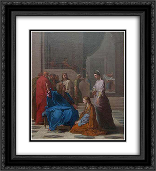 Jesus chez Marthe et Marie 20x22 Black or Gold Ornate Framed and Double Matted Art Print by Eustache Le Sueur