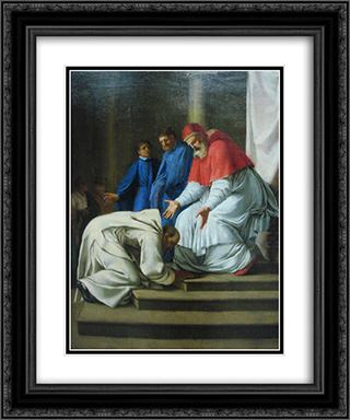 Saint Bruno the feet of Pope Urban II 20x24 Black or Gold Ornate Framed and Double Matted Art Print by Eustache Le Sueur