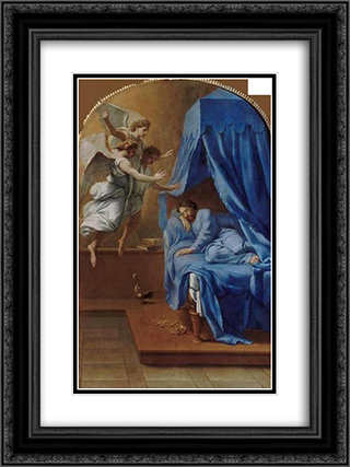 Songe de saint Bruno 18x24 Black or Gold Ornate Framed and Double Matted Art Print by Eustache Le Sueur