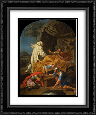 St. Bruno Appearing to Comte Roger 20x24 Black or Gold Ornate Framed and Double Matted Art Print by Eustache Le Sueur